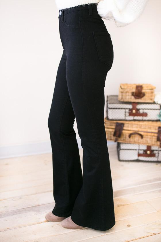 Bottoms Daring High Waist Black Flare Jeans - Lotus Boutique