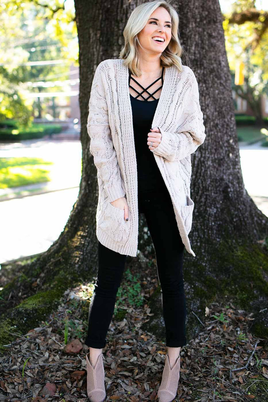 Tops Feels Good Cable Knit Cardigan in Taupe - Lotus Boutique