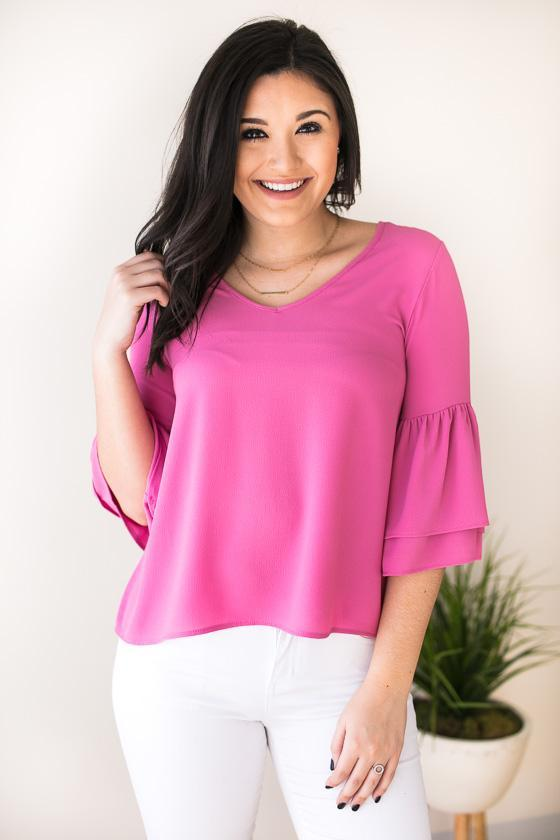 Good One Bell Sleeve Top - Pink