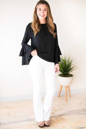 Cute Black Blouse with sleeve detail