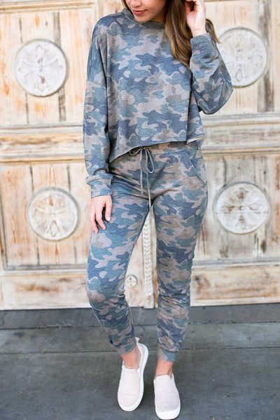 Bottoms Thinking Back Slim Camo Joggers - Lotus Boutique