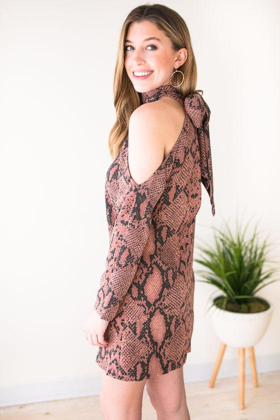 Dresses All of My Love Snake Print Dress - Lotus Boutique