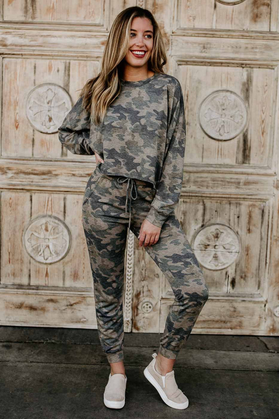 Tops Thinking Back Camo Oversize Crop Top - Lotus Boutique