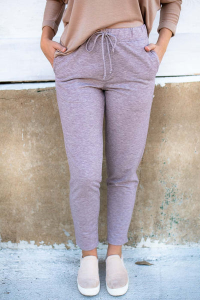 Bottoms On the Road Straight Leg Joggers in Lavender - Lotus Boutique