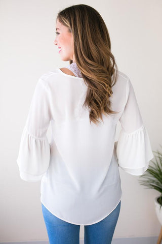 Good One Bell Sleeve Top - White