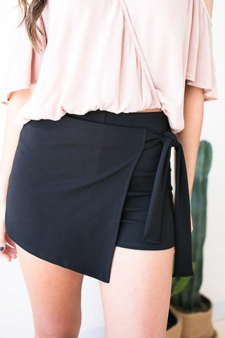 Tunnel Vision Wrap Skort - Black