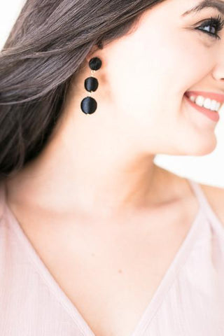 Mini Drop Earrings - Black
