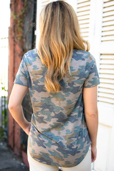 Tops The Camo Trend Pocket Tee - Lotus Boutique