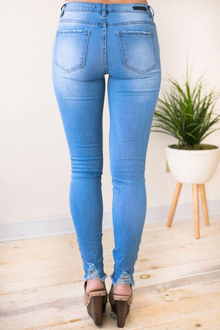Play It Cool Distressed Skinny Jeans