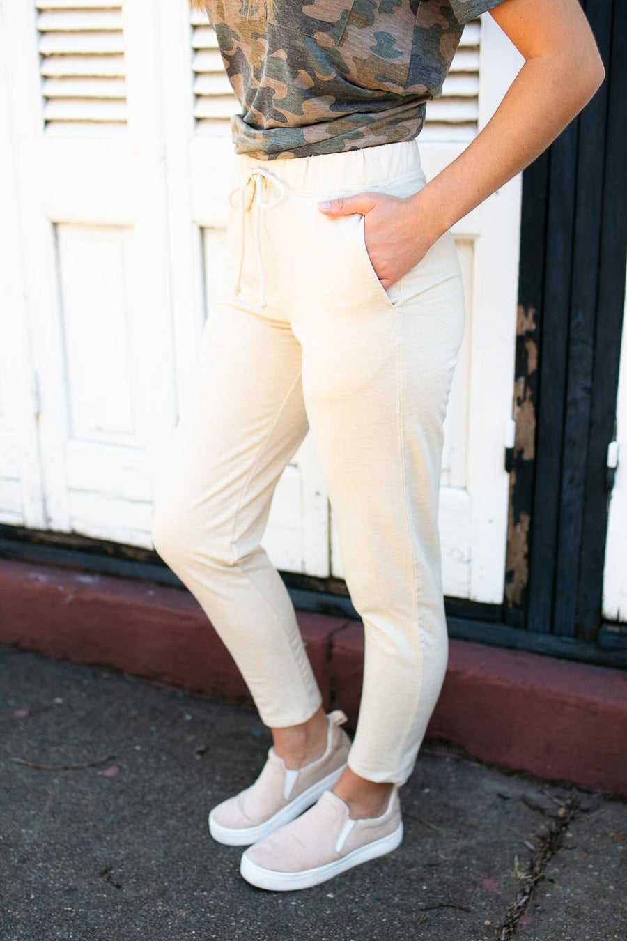 Bottoms On the Road Straight Leg Joggers in Ivory - Lotus Boutique