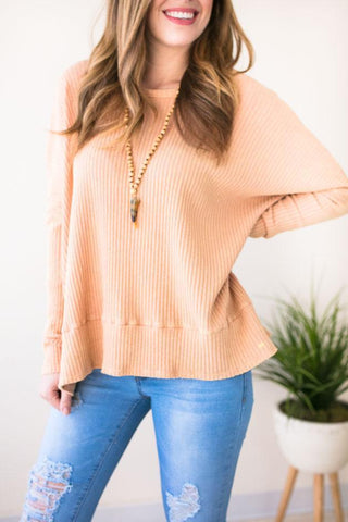 Dreamsicle Open Back Ribbed Sweater