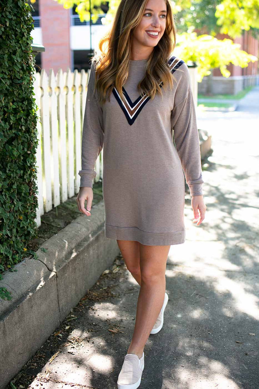 Dresses Just My Style Ribbon Applique Sweatshirt Dress - Lotus Boutique