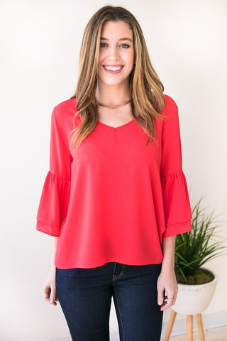 Good One Bell Sleeve Top - Watermelon