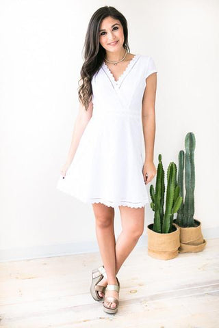 White Eyelet Fit and Flare Dress