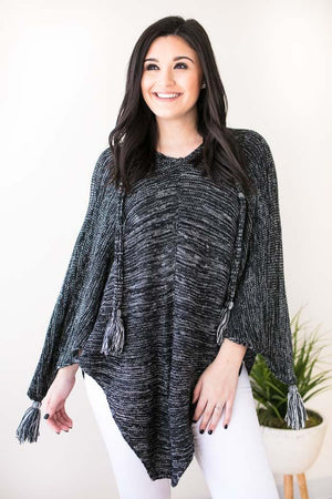 Chances Pom Pom Poncho-Tops-Lotus Boutique-Lotus Boutique