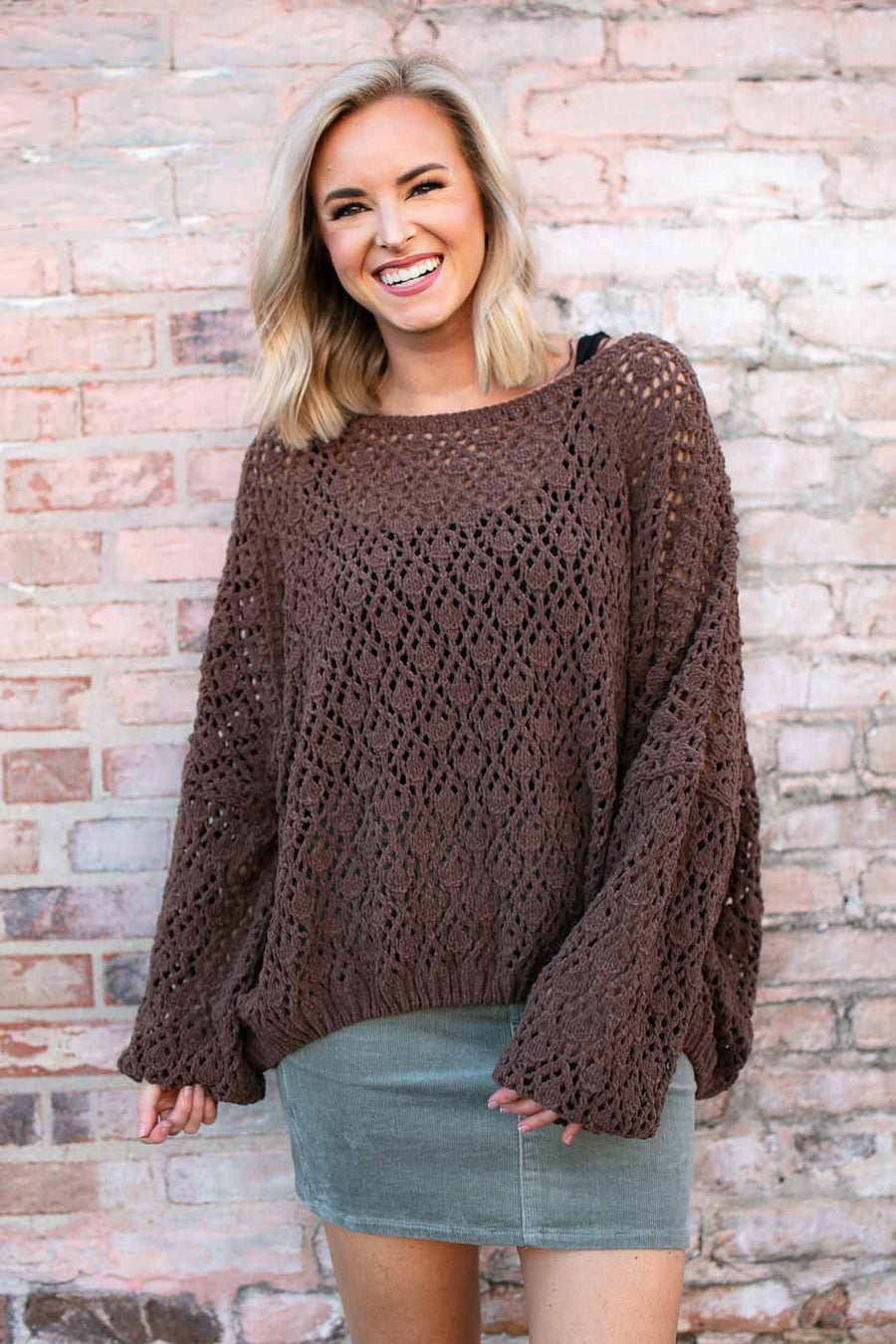 Tops Time for Coffee Brown Open Knit Sweater - Lotus Boutique