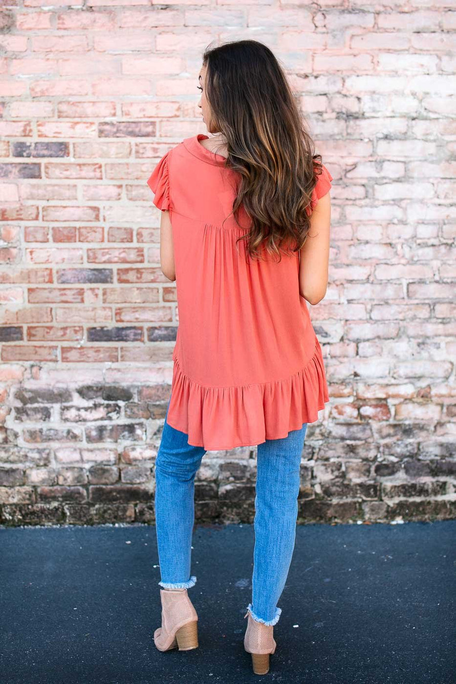 Tops Playful Pumpkin Ruffle Bottom Top - Lotus Boutique