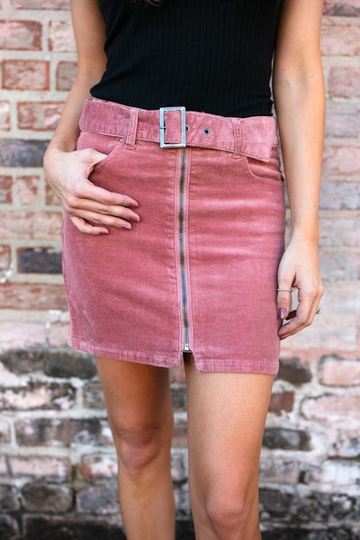 Bottoms Basically Belted Zip Up Mini Skirt in Rose Corduroy - Lotus Boutique