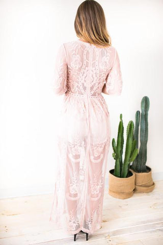 You Got It Lace Maxi Romper - Blush
