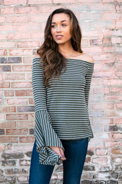 Tops The Hills Off the Shoulder Stripe Top in Olive - Lotus Boutique