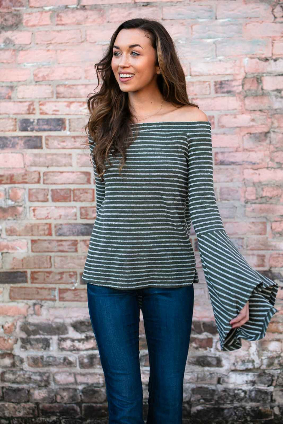 The Hills Off the Shoulder Stripe Top in Olive