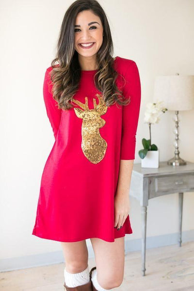Merry Christmas Gold Reindeer Dress - Red-Dresses-Lotus Boutique-Lotus Boutique