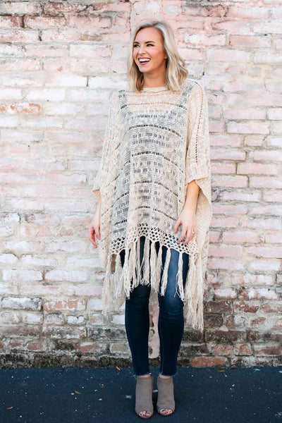 Tops Fringe Benefits Long Open Knit Poncho - Lotus Boutique