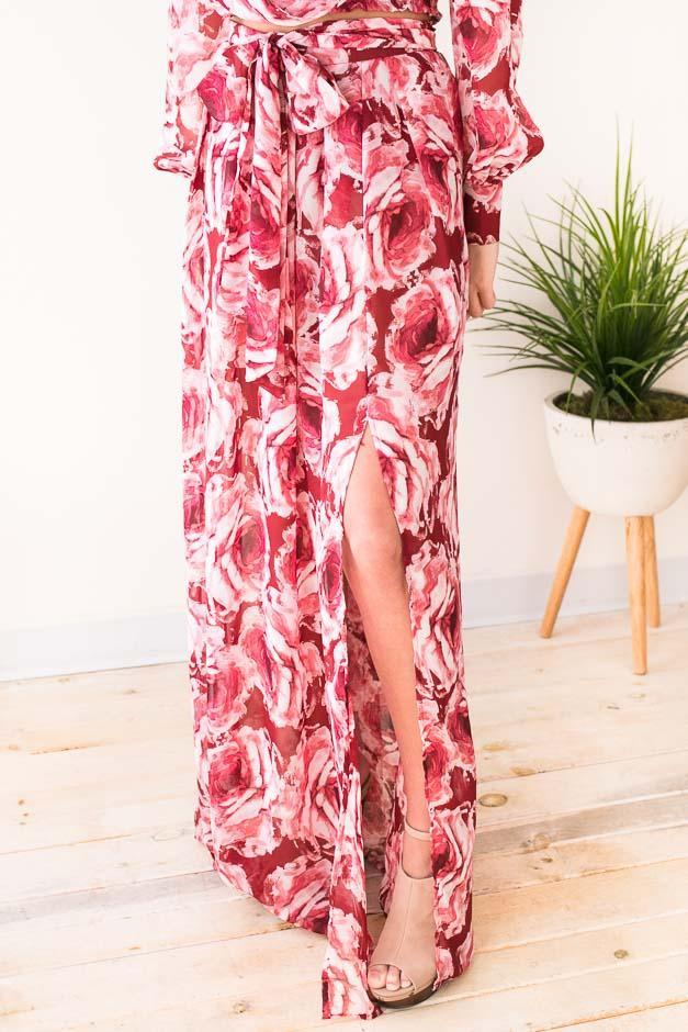 Bottoms Lucky Rose Pink Maxi Skirt  - Lotus Boutique