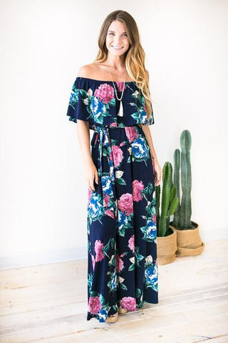 Rosie Off Shoulder Maxi Dress - Navy