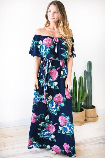 Rosie Off Shoulder Maxi Dress - Navy-Dresses-Lotus Boutique-Lotus Boutique