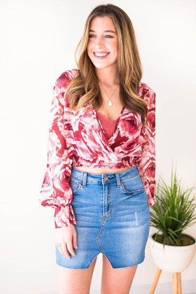 Tops Lucky Rose Pink Surplice Crop Top - Lotus Boutique