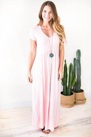 Carousel Babydoll Maxi Dress - Blush