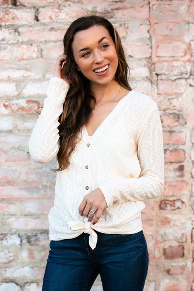 Tops Honey Roasted Thermal Button Up Top in Cream - Lotus Boutique