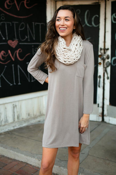 Dresses Last Laugh 3/4 Sleeve T-Shirt Dress in Mocha - Lotus Boutique