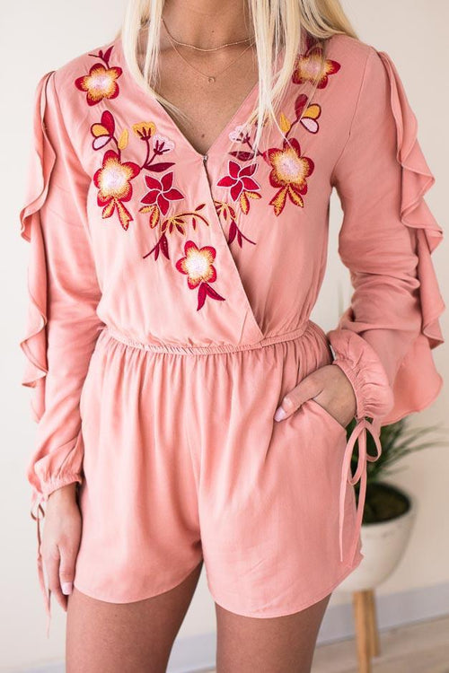 Peach Romper with Pockets