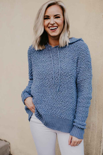 Tops Luxe Popcorn Hoodie Pullover in Blue - Lotus Boutique