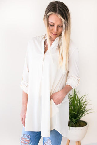 Brighter Days Ahead V Neck Tunic - Ivory