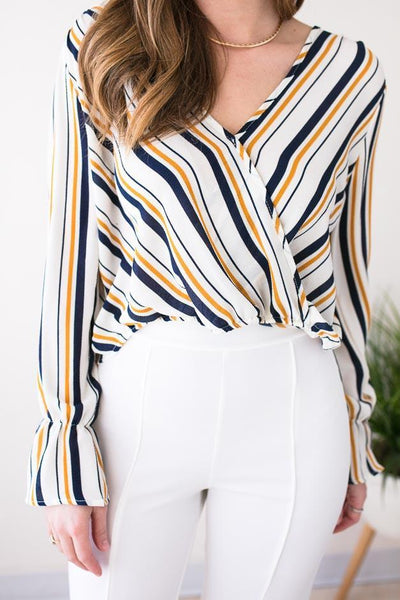 Tops Sweet Side Stripe Surplice Crop Top - Lotus Boutique