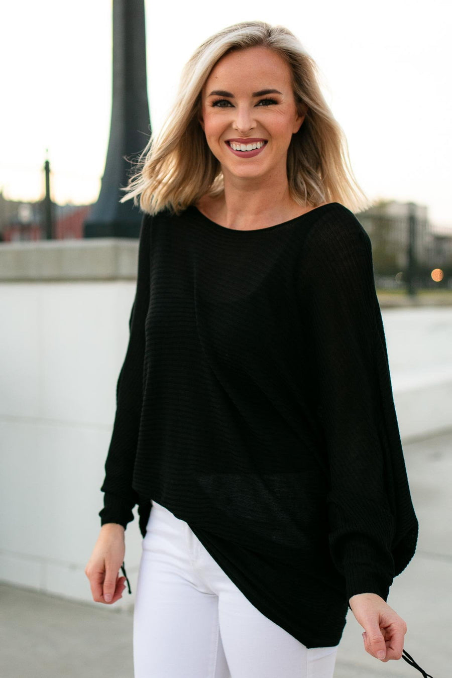 Tops Black as Night Dolman Sleeve Top - Lotus Boutique