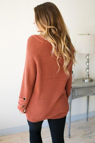 Crushing On This Lace Up Tunic Sweater - Rust