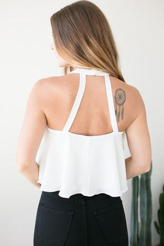 Only Mine White Halter Crop Top