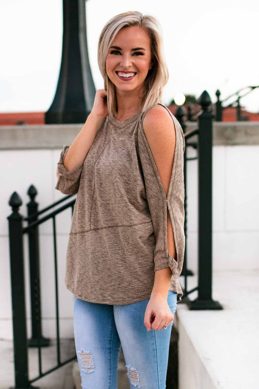 Sweet Maple Latte Cold Shoulder Top