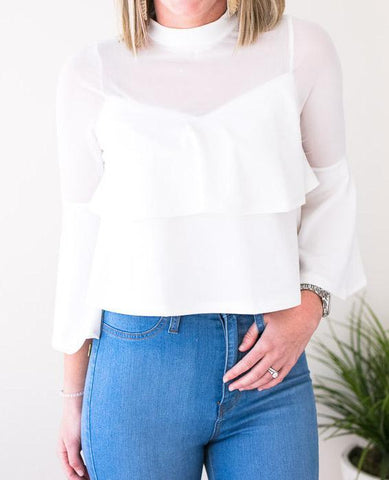 Perfect Moment Mesh Ruffle Crop Top