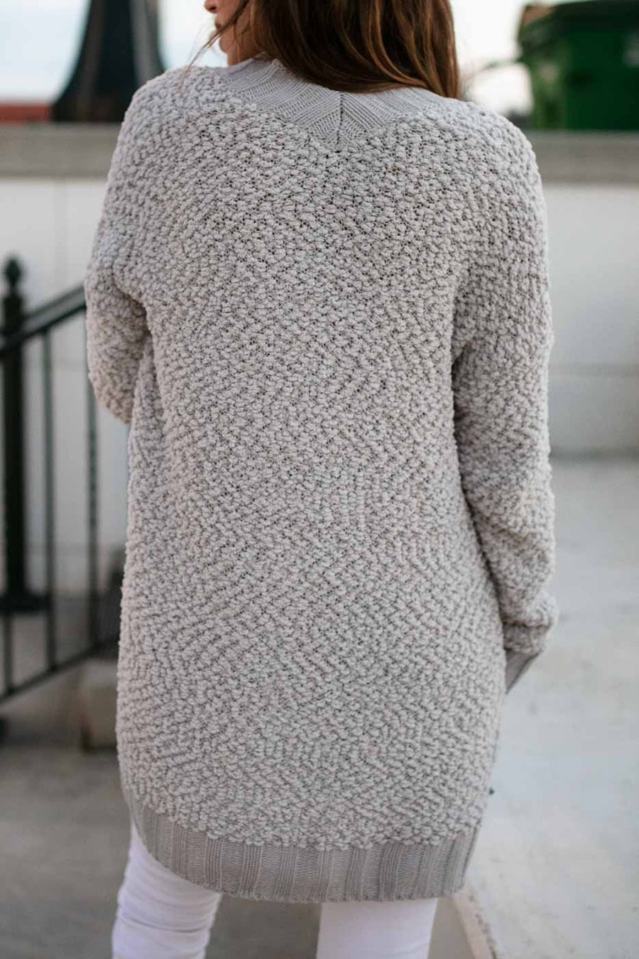 Tops Movie Night Popcorn Knit Cardigan in Grey - Lotus Boutique