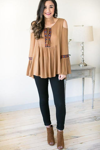 Desert Mirage Cold Shoulder Top