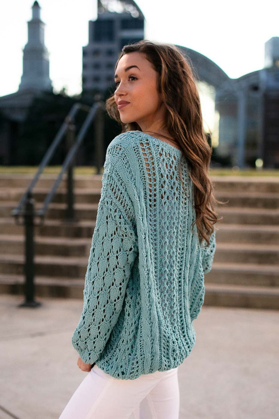 Mint Open Knit Sweater