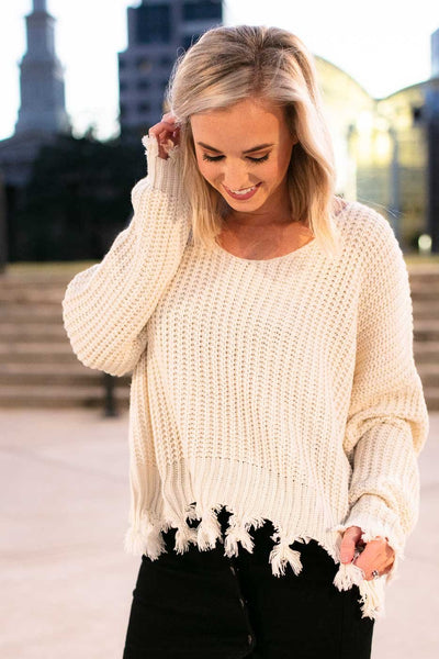 Tops Make Your Mind Up Frayed Ivory Sweater - Lotus Boutique