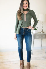 Gold Stitch Dark Wash Skinny Jeans
