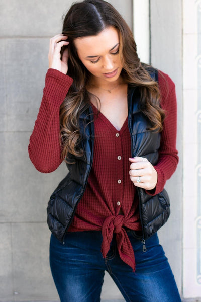 Tops Apple Wood Thermal Button Up Top in Burgundy - Lotus Boutique