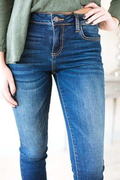 Bottoms Gold Stitch Dark Wash Skinny Jeans - Lotus Boutique